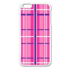 Gingham Hot Pink Navy White Apple Iphone 6 Plus/6s Plus Enamel White Case