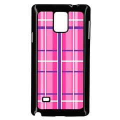 Gingham Hot Pink Navy White Samsung Galaxy Note 4 Case (black)