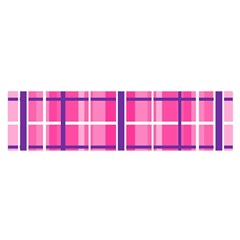 Gingham Hot Pink Navy White Satin Scarf (oblong)