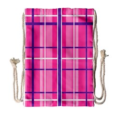 Gingham Hot Pink Navy White Drawstring Bag (large)