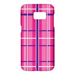 Gingham Hot Pink Navy White Samsung Galaxy S7 Hardshell Case  by Nexatart