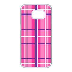 Gingham Hot Pink Navy White Samsung Galaxy S7 Edge White Seamless Case