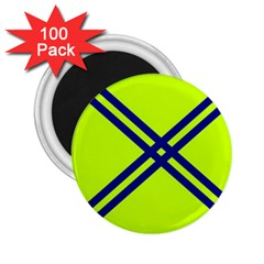 Stripes Angular Diagonal Lime Green 2 25  Magnets (100 Pack)