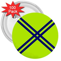 Stripes Angular Diagonal Lime Green 3  Buttons (100 Pack)