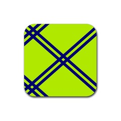 Stripes Angular Diagonal Lime Green Rubber Coaster (square)