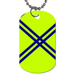 Stripes Angular Diagonal Lime Green Dog Tag (one Side)