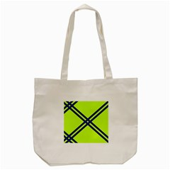 Stripes Angular Diagonal Lime Green Tote Bag (cream)