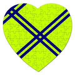 Stripes Angular Diagonal Lime Green Jigsaw Puzzle (heart)