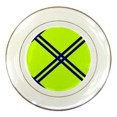 Stripes Angular Diagonal Lime Green Porcelain Plates by Nexatart