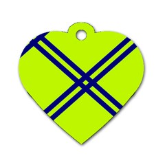 Stripes Angular Diagonal Lime Green Dog Tag Heart (two Sides)