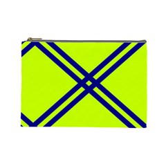 Stripes Angular Diagonal Lime Green Cosmetic Bag (large)