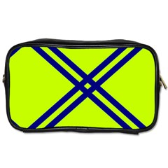 Stripes Angular Diagonal Lime Green Toiletries Bags 2 Side