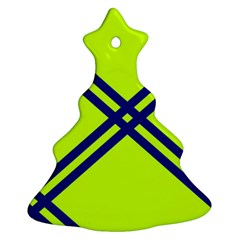 Stripes Angular Diagonal Lime Green Ornament (christmas Tree)