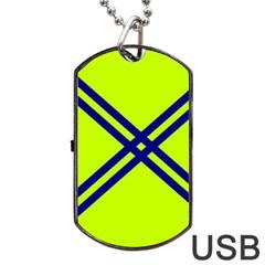 Stripes Angular Diagonal Lime Green Dog Tag Usb Flash (two Sides)