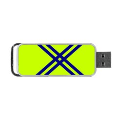 Stripes Angular Diagonal Lime Green Portable Usb Flash (one Side)