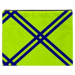Stripes Angular Diagonal Lime Green Cosmetic Bag (xxxl)