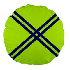 Stripes Angular Diagonal Lime Green Large 18  Premium Round Cushions