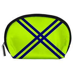 Stripes Angular Diagonal Lime Green Accessory Pouches (large)