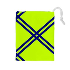 Stripes Angular Diagonal Lime Green Drawstring Pouches (large)