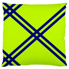 Stripes Angular Diagonal Lime Green Large Flano Cushion Case (one Side)