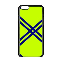 Stripes Angular Diagonal Lime Green Apple Iphone 6/6s Black Enamel Case by Nexatart