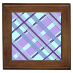 Diagonal Plaid Gingham Stripes Framed Tiles