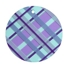 Diagonal Plaid Gingham Stripes Ornament (round)