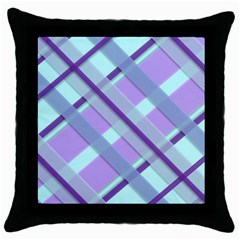 Diagonal Plaid Gingham Stripes Throw Pillow Case (black)