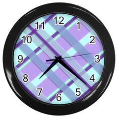 Diagonal Plaid Gingham Stripes Wall Clocks (black)
