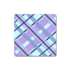 Diagonal Plaid Gingham Stripes Square Magnet