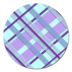 Diagonal Plaid Gingham Stripes Magnet 5  (round)