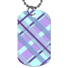 Diagonal Plaid Gingham Stripes Dog Tag (two Sides)