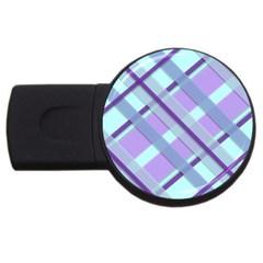 Diagonal Plaid Gingham Stripes Usb Flash Drive Round (4 Gb)