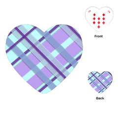 Diagonal Plaid Gingham Stripes Playing Cards (heart)