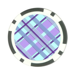 Diagonal Plaid Gingham Stripes Poker Chip Card Guard