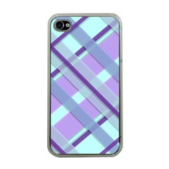 Diagonal Plaid Gingham Stripes Apple Iphone 4 Case (clear)