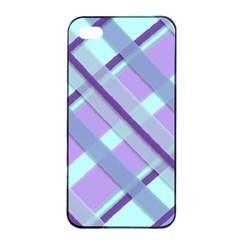 Diagonal Plaid Gingham Stripes Apple Iphone 4/4s Seamless Case (black)