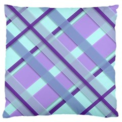Diagonal Plaid Gingham Stripes Large Cushion Case (one Side)
