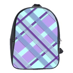 Diagonal Plaid Gingham Stripes School Bag (xl)
