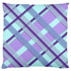 Diagonal Plaid Gingham Stripes Large Flano Cushion Case (two Sides)