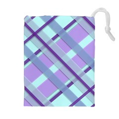 Diagonal Plaid Gingham Stripes Drawstring Pouches (extra Large)
