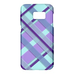 Diagonal Plaid Gingham Stripes Samsung Galaxy S7 Hardshell Case