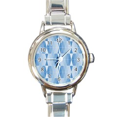 Blue Monochrome Geometric Design Round Italian Charm Watch