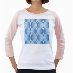 Blue Monochrome Geometric Design Girly Raglans
