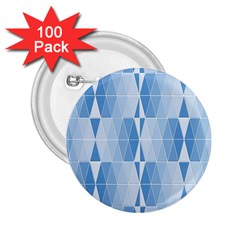 Blue Monochrome Geometric Design 2 25  Buttons (100 Pack)