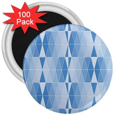 Blue Monochrome Geometric Design 3  Magnets (100 Pack)