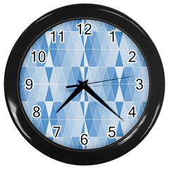 Blue Monochrome Geometric Design Wall Clocks (black)