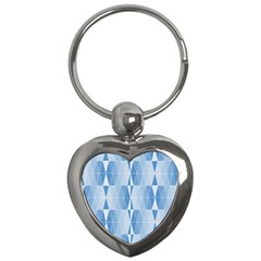 Blue Monochrome Geometric Design Key Chains (heart)