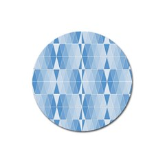 Blue Monochrome Geometric Design Magnet 3  (round) by Nexatart