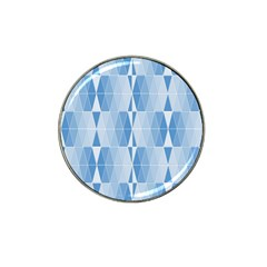 Blue Monochrome Geometric Design Hat Clip Ball Marker (4 Pack) by Nexatart